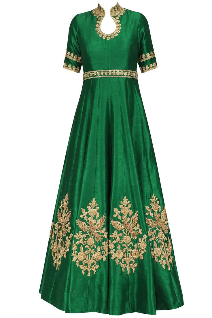Emerald green dori and sequins embroidered anarkali set available only at Pernia's Pop Up Shop.