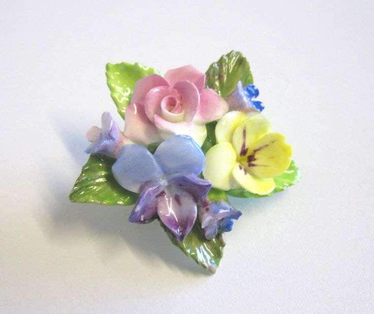 Vintage Coalbrook China Flower Brooch, Rose, Viola, Pansy and Forget-Me-Nots by TheWhistlingMan on Etsy