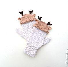 Knitting mittens   Купить Варежки вязаные в шапочках Олени, детские варежки для ребенка - варежки, варежки в шапочках