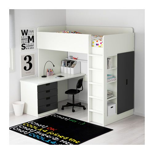 STUVA Letto soppalco/4 cassetti/2 ante - bianco/nero - IKEA