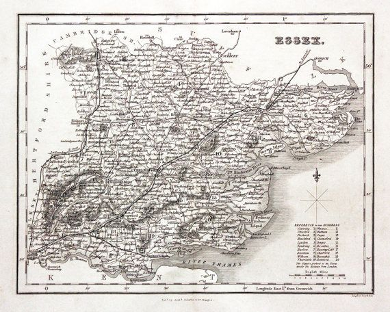 Essex County Map Old Atlas Vintage Essex Map by FabVintagePosters