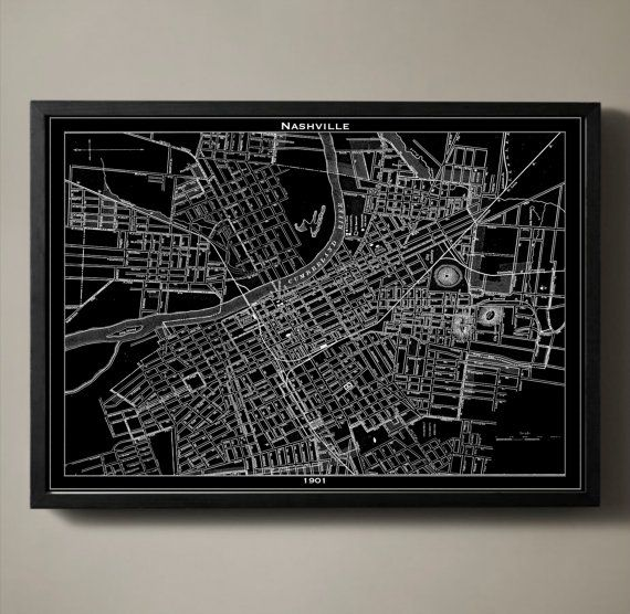 NASHVILLE Map Print, Black and White Nashville Wall Art  A clear depiction of Nashville at the turn of the century, this detailed map gives an aerial