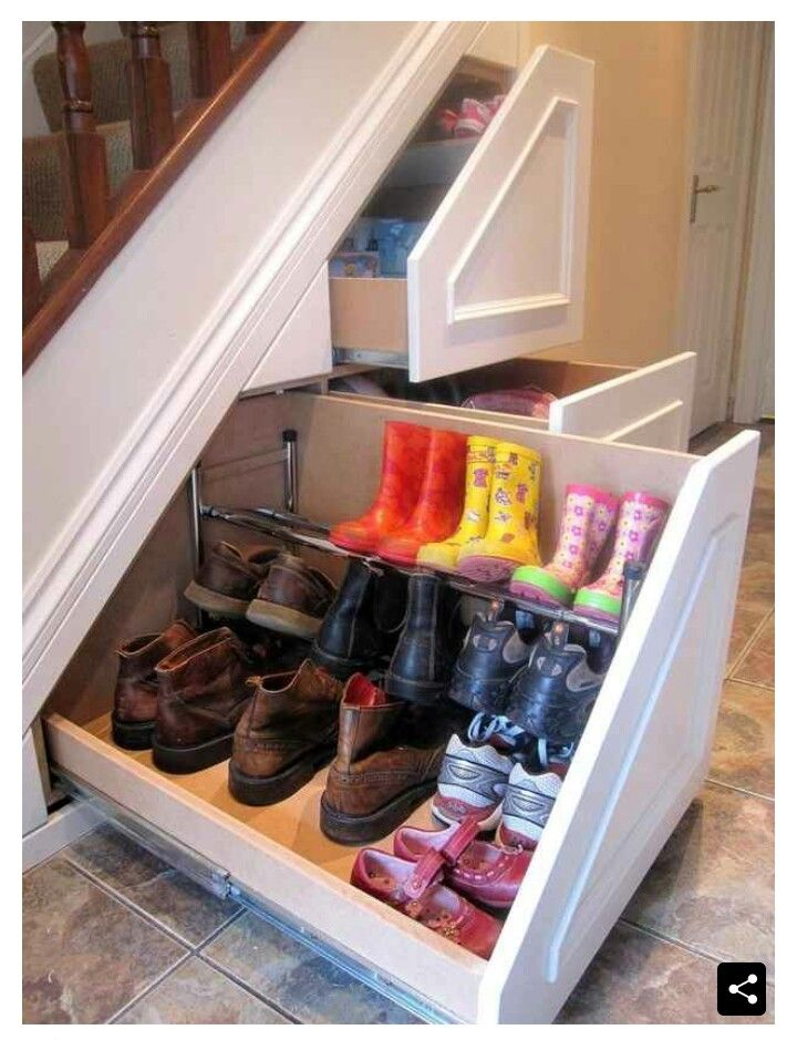 Under stairs storage - Just the one drawer for shoes would be ideal and leave room for a broom cupboard.