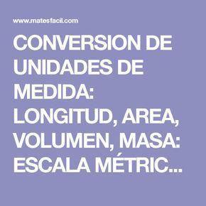 CONVERSION DE UNIDADES DE MEDIDA: LONGITUD, AREA, VOLUMEN, MASA: ESCALA MÉTRICA, PROBLEMAS RESUELTOS, TEST: SECUNDARIA, ESO