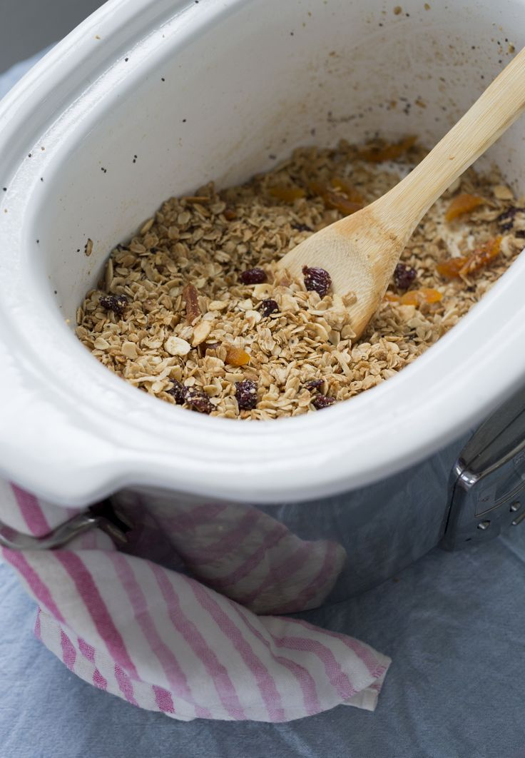How To Make Homemade Crunchy Granola in the Slow Cooker. This is probably the most healthy slow cooker recipe you'll ever find.