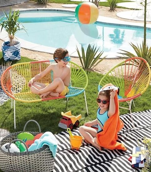 We doubt your little one will be taking a solo vacation anytime soon, but we think our vibrant Acapulco Junior Kids Chair is the next best thing. It's designed for use as a durable outdoor kids chair that's great for summertime lounging, and it even doubles as an indoor play chair that will lend a splash of cheery color to any space. Coordinate it with our Acapulco Junior Kids Bench to create a complete kids furniture set.