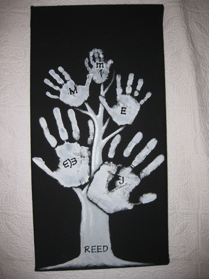 Family (Hand Print) Tree: Hint - Place stickers on canvas before painting, then remove for perfect looking letters.