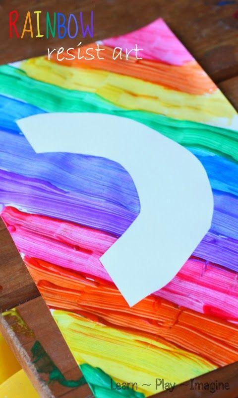 Easy method to make rainbow resist art with kids