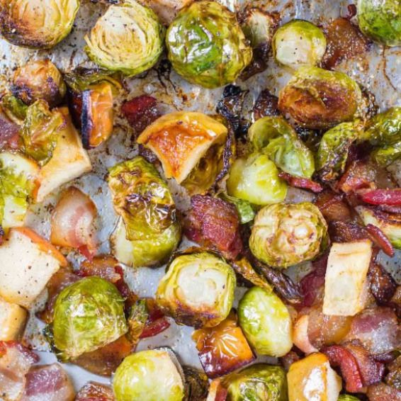 Roasted Brussel Sprouts. Roasted brussel sprouts with bacon apples recipe brings…   – Fruity Recipes