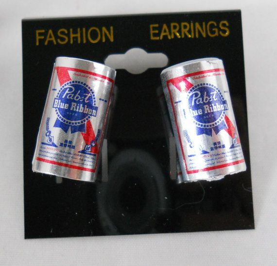 Pabst Blue Ribbon Beer Can  Food Earrings  - 1 inch- pierced