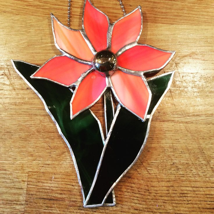 Copper foil stained glass flower