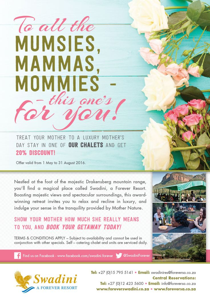 Good morning Swadini Fans! Celebrate Mother's day at Swadini a Forever Resort. Treat your mother to a luxury mother's day stay in one of our chalets and get 20% discount. Phone us today on 015 795 5141. Kind Regards. Team Swadini