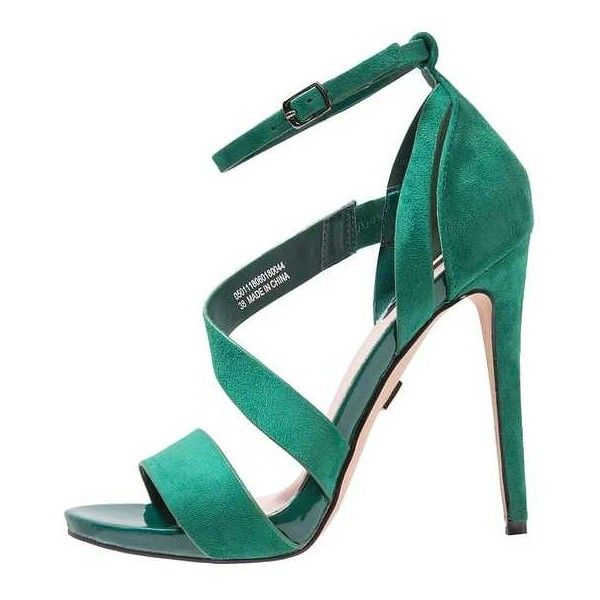 MARIS High heeled sandals green ($49) ❤ liked on Polyvore featuring shoes, sandals, heels, green sandals, heeled sandals, green shoes and green heeled sandals