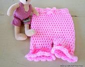 Pink Crochet Baby Bloomers 0-3 months