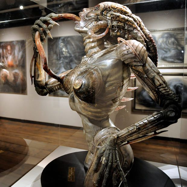 A work by Swiss artist HR Giger is seen at an exhibition called 'Traeume und Visionen' (Dreams and Visions) at the Kunsthaus Wien in Vienna, Austria