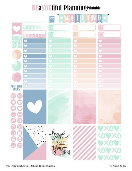 Free Love Planner Stickers | BEaYOUtiful Planning                                                                                                                                                     More