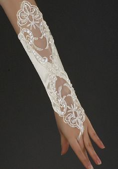 Ivory Satin & Lace Long Fingerless Wedding Gloves With Appliques & Paillettes & Beading - Angeldress.co.uk