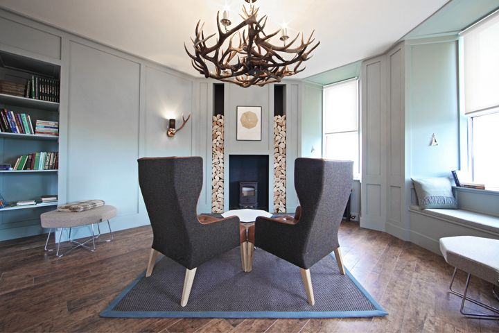 Hotel design for the old library at The Inn at John O'Groats