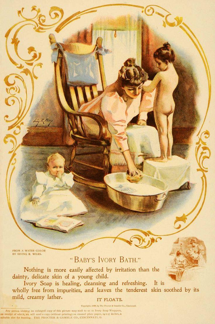 Vintage bathroom ads - 1898 Soap Ad Babys Ivory Bath Victorian Era Mother Bathing Children Vintage Art Print By Irving R Wiles Great To Frame