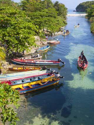 Colourful Fishing Boats on White River, Ocho Rios, St. Ann Parish, Jamaica
