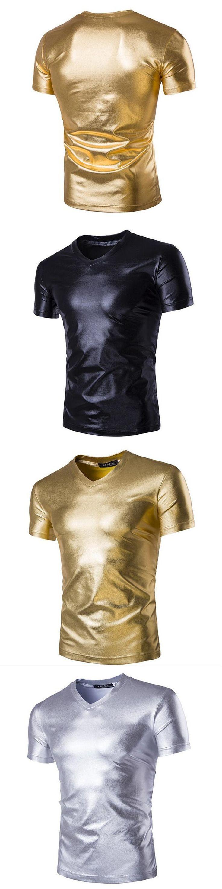 2017 Hot Sale Rushed Night Club Wear Mens Tee Shirts Coated Metallic Tshirts Summer Punk Style Shiny Short Sleeve T-shirt Men
