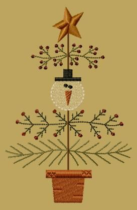 PK027 Snow Christmas Tree - 5x7 - $8.00 : Primitive Keepers, Prim Machine Embroidery Designs