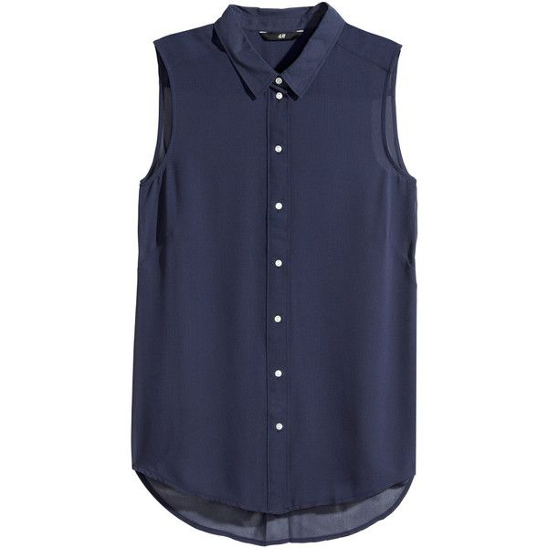 H&M Sleeveless blouse ($6.28) ❤ liked on Polyvore featuring tops, blouses, shirts, blusas, dark blue, h&m, sleeveless button blouse, button blouse, no sleeve shirts and sleeveless blouse