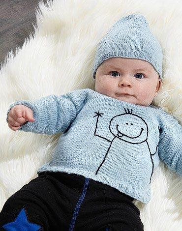Köp - 29kr! Stickmönster - Stickad tröja med streckgubbe och mössa. Plaggen är stickade i M&K EcobomullStorlek: 3 (6) 9 (12)
