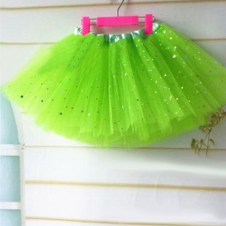 2-7 éveseknek való csillogó zöld tütü / tüll szoknya