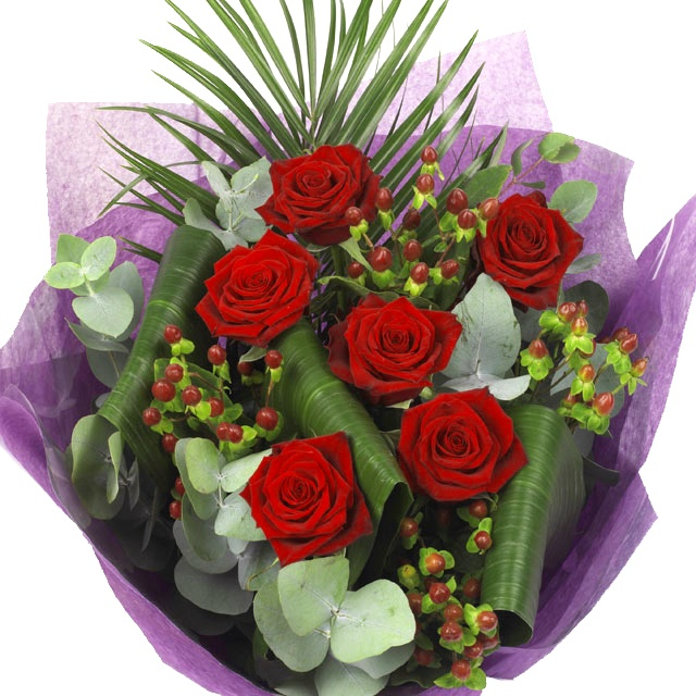 Flowers - A beautiful bouquet of Luxury Red Roses. www.eden4flowers.co.uk