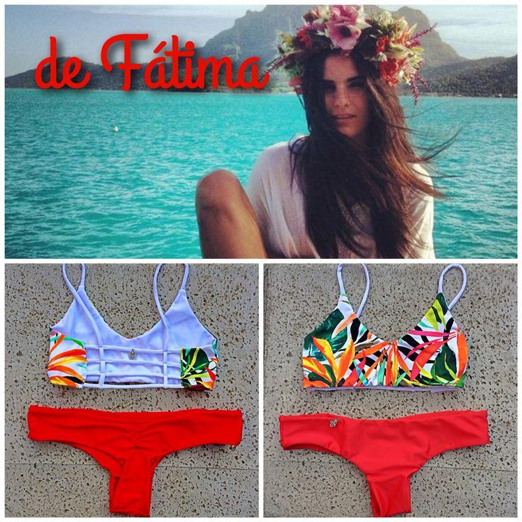 Bikini espalda tiritas estampado selvático Rojo