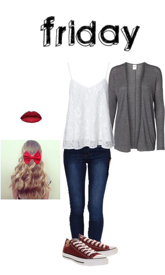 Cute outfit for school ~created using polyvore (Minus the bow and lipstick)
