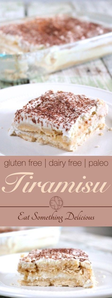 Tiramisu | Layers of coffee-infused ladyfinger cake, custard, and whipped topping. This is a gluten free, dairy free version of the classic Italian dessert. | http://eatsomethingdelicious.com
