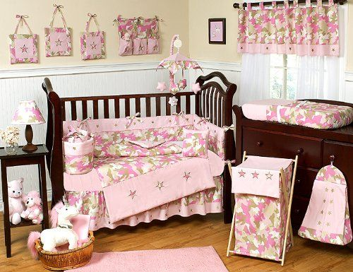 Khaki and pink camo fitted crib sheet for baby and toddler for Camo bedroom ideas for girls