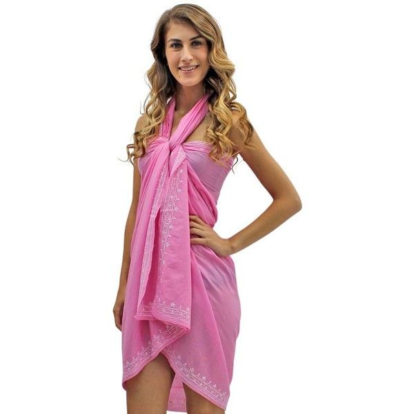 Pink Embroidered Sarong Wrap For Women ($19) ❤ liked on Polyvore featuring swimwear, cover-ups, pink, sarong wraps, wrap bathing suit, swim suits, sarong cover up, swimsuit cover up and swim cover up