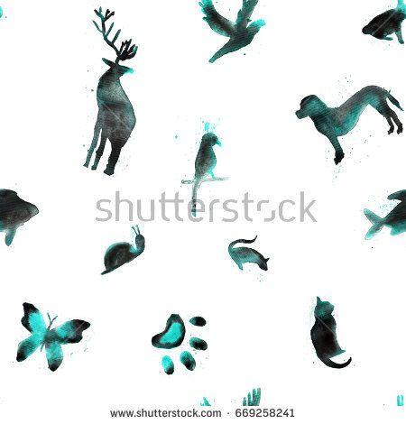 Seamless pattern, watercolor animals, fish, hare, parrot, snail, cat, bird, butterfly, rat, dog, deer on white background - Shutterstock Premier