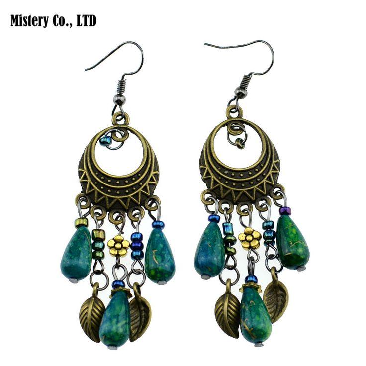 ER378 Ethinic Antique Bronze Bohemia Beaded Vintage Earrings For Women Lady 2015 New Jewelry Bijouterie