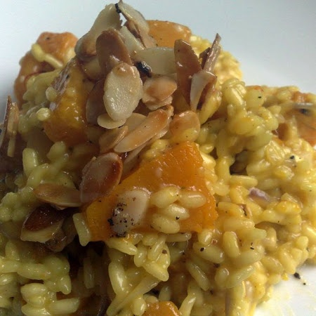 Roasted Butternut Squash Risotto with Maple Syrup Almonds