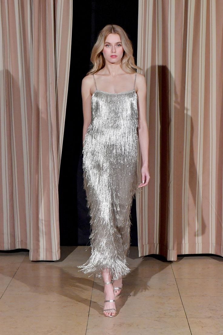 """Rachel Zoe F/W 2017 RTW: """"Flapper Goes To An Awards Show In LA"""". Silver metallics are always my weakness, and this one is no different."""