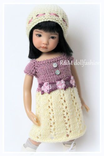 """OOAK hand-knit set by R&M DOLLFASHION for Effner LD 13"""" Betsy McCall 14"""" dolls"""