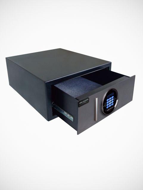 Kassaskåp med utdragbar låda, perfekt att gömma under säng, byråer eller andra…