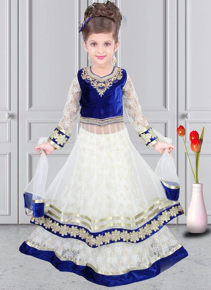 Invigorating White Net Designer Kids Wear Lehenga Choli