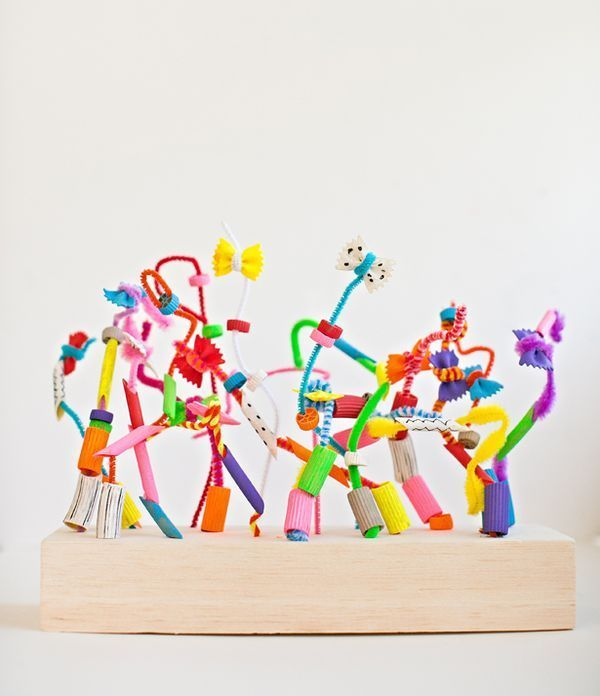 Make Crazy Pasta Sculptures! A fun art projects for kids to build and help with fine motor skills.