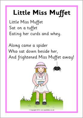 Little Miss Muffet rhyme sheet (SB10886) - SparkleBox