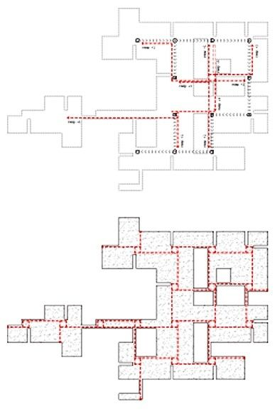 Analysis of the plan of Venice Hospital by Le Corbusier showing circulation paths The Strategies of Mat-building. The Architectural Review, August 2013