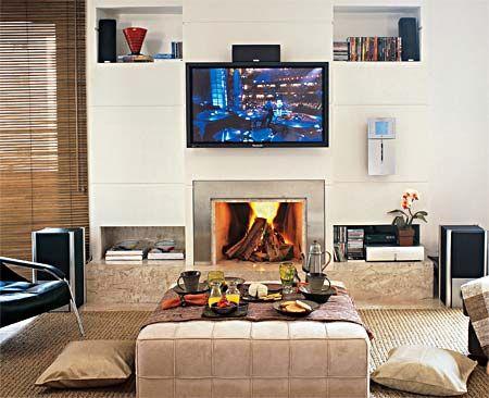 30 idéias de salas com lareira - Casa