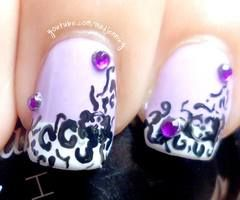 Abstract Arabesque Nail Art (stamping - freehand)