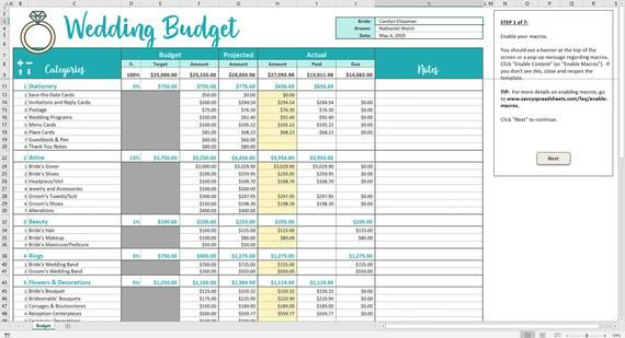 Savvy Wedding Budget Excel Template Editable Printable Wedding