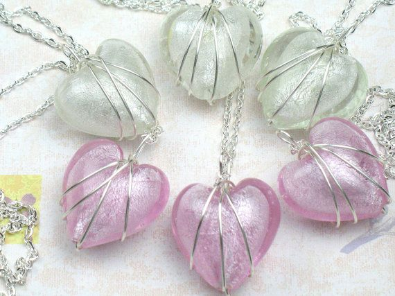 Bridesmaid Gift Set of Six Heart Necklaces with Wire Wrapped