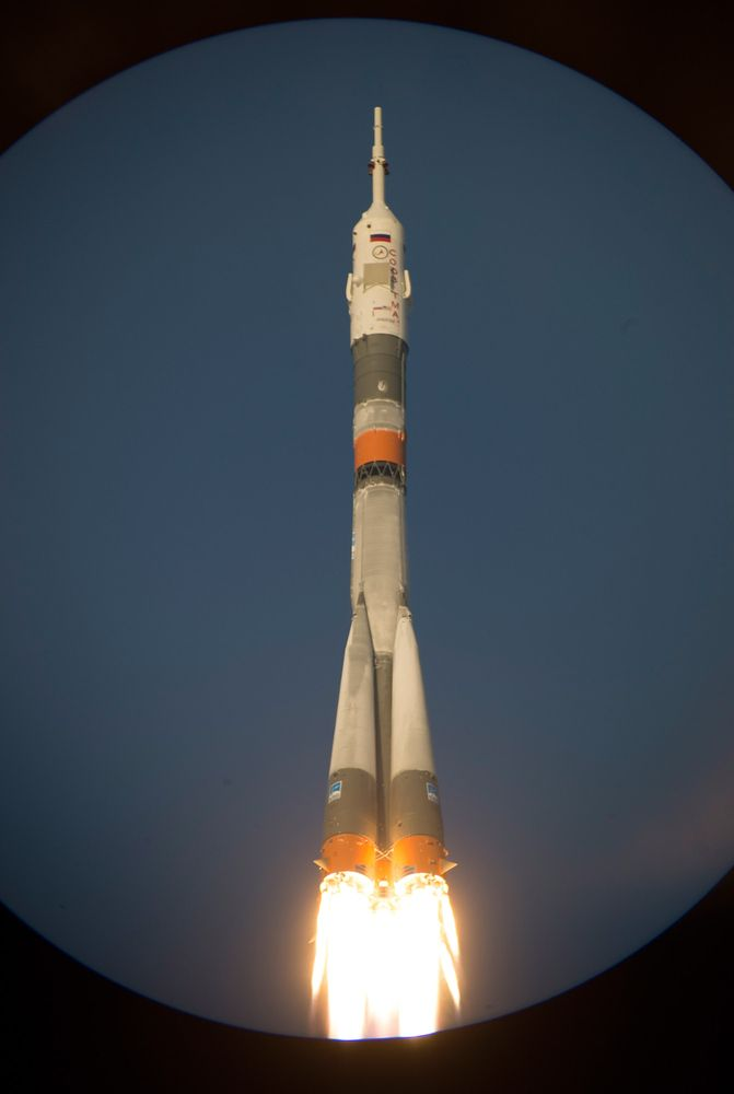 Russia's Soyuz TMA-19M spacecraft carrying the International Space Station (ISS) Expedition 46/47 crew of Britain's astronaut Tim Peake, Russian cosmonaut Yuri Malenchenko and US astronaut Tim Kopra blasts off from the launch pad at the Russian-leased Baikonur cosmodrome on December 15, 2015